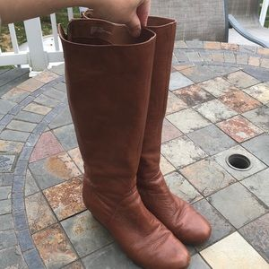 Brown leather long boots with wedge size 8
